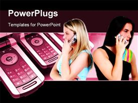 PowerPoint template displaying two young girls making phone calls with cell phone in background