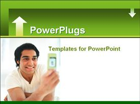 PowerPoint template displaying human smiling and staring at an open hand set