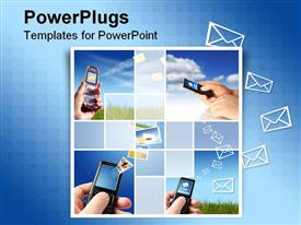 PowerPoint template displaying collage of mobile phones raised high receiving messages