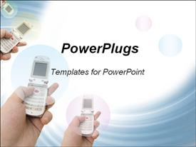 PowerPoint template displaying hands using flip cell phones, communications, technology