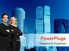 PowerPoint template displaying people with hands crossed with modern skyscrapers in background