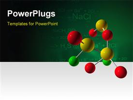 PowerPoint template displaying colorful molecular structure with science keywords and formulas on chalkboard