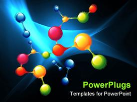 PowerPoint template displaying series of molecules and atoms colored drawing