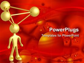PowerPoint template displaying a gold colored 3D human figure with moleculs on the head