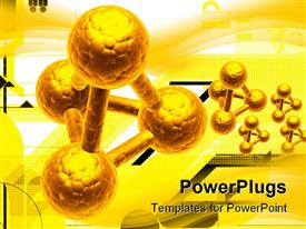 PowerPoint template displaying five gold colored chemical reactions on a yellow background