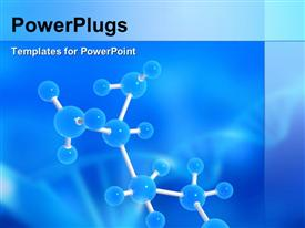 PowerPoint template displaying molecules on a blue background