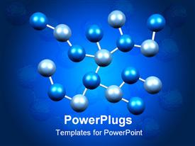 Molecules Formation in Blue Isolated on a Black Background powerpoint template