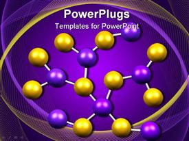 PowerPoint template displaying yellow and purple molecule model on purple background