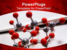 Red molecular structure on table  - case powerpoint slides