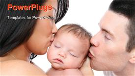 PowerPoint template displaying mom and dad parent kissing their young baby