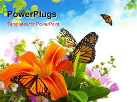 Monarch Butterflies on flower arrangement powerpoint design layout