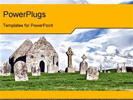 PowerPoint template displaying landscape of Monastery of Clonmacnoise, Ireland over cloudy sky