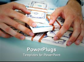 Close-up of a business man with hands over money on the table powerpoint theme