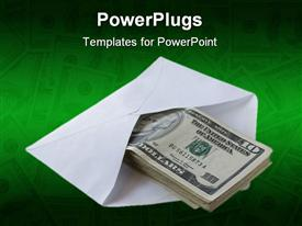 PowerPoint template displaying dollars in the envelope