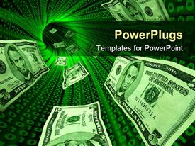 PowerPoint template displaying money bills flowing through a tunnel with glowing red binary codes symbolizing the internet