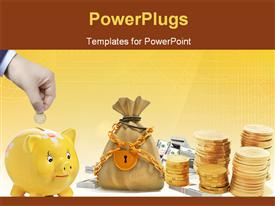 PowerPoint template displaying hand with a coin with a piggy bank