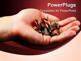 PowerPoint template displaying hand holding pile of coins on red background