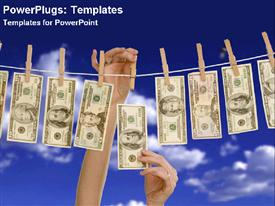 PowerPoint template displaying money bills hanging on a clothes line held by wooden clothespins and two hands taking money bill from the line on blue sky background