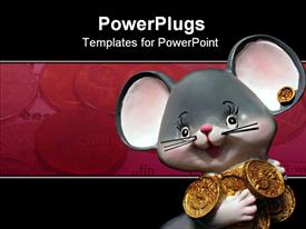 Little mouse with many money presentation background