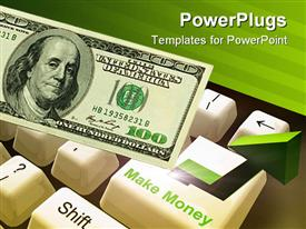 PowerPoint template displaying a dollar note along with a keyboard