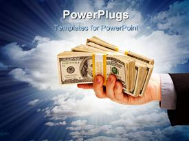 PowerPoint template displaying hand holding stacks of dollar bills with blue cloudy sky