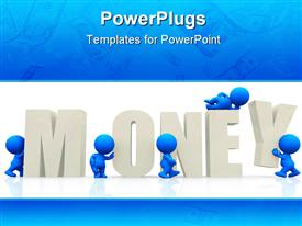 PowerPoint template displaying the word money with a number of people and white background