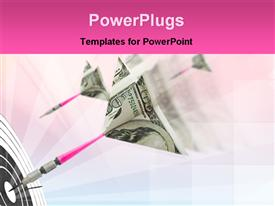 PowerPoint template displaying financial goal metaphor with hundred dollar bill darts hitting target