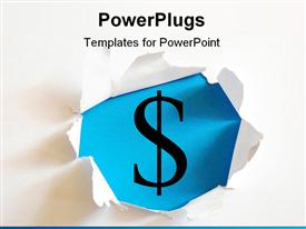 PowerPoint template displaying money hole in white paper with blue background