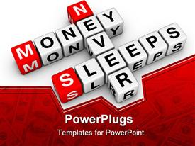 Money never sleep (from buzzword cubes series) template for powerpoint