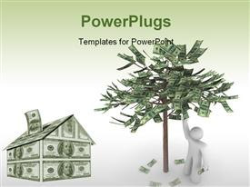 PowerPoint template displaying a 3D character with a house and a tree made up of money
