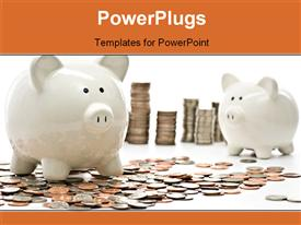 PowerPoint template displaying piggy Bank Savings Money Concept. Piggy Bank Surrounded with Stacks of US Coins