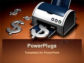 PowerPoint template displaying a beautiful depiction of a printing machine printing dollar signs