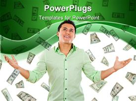 PowerPoint template displaying a person thinking with a number of dollar notes in the background