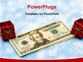 PowerPoint template displaying twenty dollar bills with red present on snowflake background gift of money
