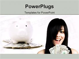 PowerPoint template displaying young and cute woman with lot of money and piggy bank