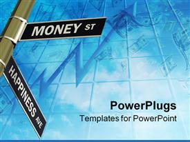 PowerPoint template displaying crossroad Street Sign | Concept: Intersection of Money and Happiness in the background.