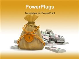 PowerPoint template displaying money bag with gold lock and dollar packs isolated 3D
