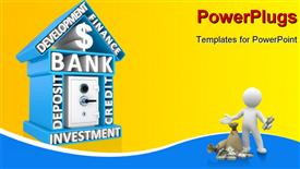 PowerPoint template displaying building of bank with keywords and the safe, humanoid with dollars and bag of money in front