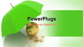 PowerPoint template displaying gold piggy bank and coins under green umbrella