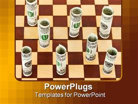 Money on chess board - business concept background powerpoint design layout