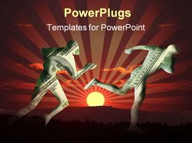 PowerPoint template displaying two human figures colored with dollar bills running on a sunset background