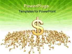 PowerPoint template displaying crowd of gold figures surround large three dimensional dollar sign