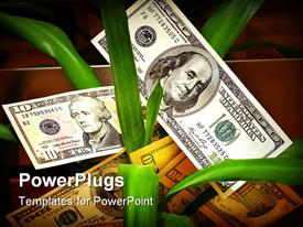 PowerPoint template displaying dollar bills in the midst of long green plant shoots