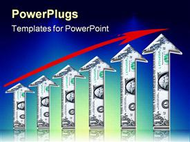 PowerPoint template displaying upward arrows made from dollar signs with red arrow overtop