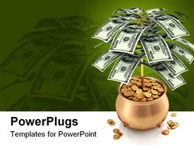 PowerPoint template displaying a jar full of gold coins with a plant of dollar notes