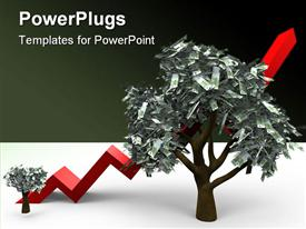 PowerPoint template displaying cartoon illustrating the growth of a money tree with 100 euro leafs