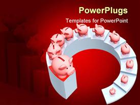 PowerPoint template displaying spiral ascending stairs with piggy banks all the way up