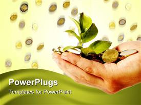 PowerPoint template displaying adult hand holding a plant sprout with gold coins
