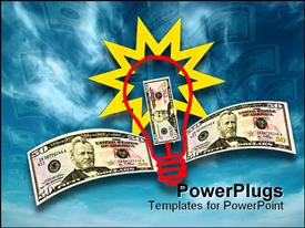 PowerPoint template displaying a bulb with a number of dollar notes and bluish background