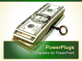 PowerPoint template displaying key for money in the background.